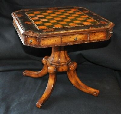 Decorative Miniature Maitland Smith Leather Top Chess Table