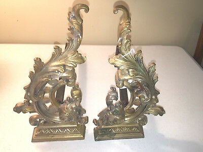 """Antique Ornate English or French Brass & Steel Andirons 13.75"""" Tall 13.5"""" Long"""