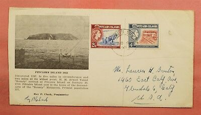 1958 PITCAIRN ISLANDS 2/6d ON SIGNED HM ARMED VESSEL BOUNTY COMMEMORATIVE TO USA