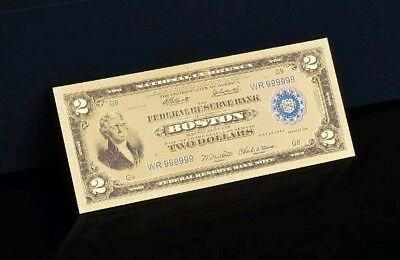 """<☆>GEM 1918 """"GOLD"""" $2 DOLLAR Rep.*Banknote~STUNNING TOUCHABLE COLOR DETAIL"""