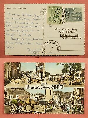 1961 British Aden Multiview Postcard To Pitcairn Island * Scarce Destination