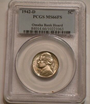 Key Date 1942 D Jefferson Nickel PCGS MS 66 FS FULL STEPS Omaha Bank Hoard