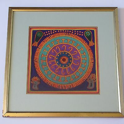 Vintage Huichol Indian Yarn Art Painting Folk Abstract Expressionism Spiritual