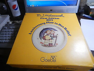 """LG. HUMMEL ANNIVERSARY PLATE 1975 Stormy Weather First Edition w/ Orig. Box 10"""""""