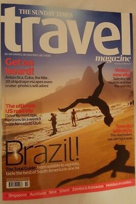 Times Travel magazine. BRAZIL TOTAL GUIDE.AFRICA. VENICE. CRUISE. USA.  Oct 2018