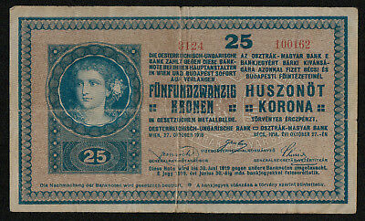 HUNGARY (P012) 25 Korona ND(1919) F+ series # above 3000
