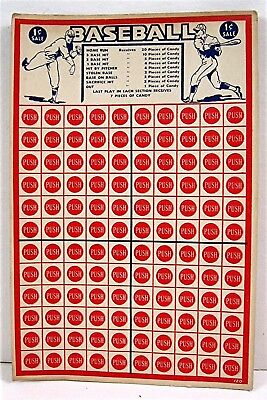 Baseball 1 Cent Punch Board Gambling Display Card Candy Payouts Old Store Stock