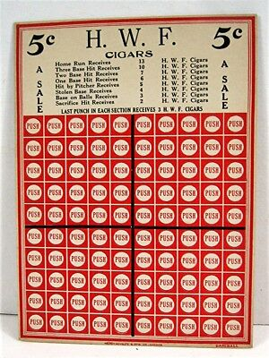 H W F Cigars 5 Cent Baseball Punch Board Gambling Display Card Acme Old Stock