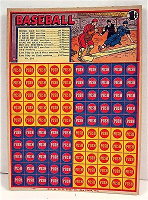 Baseball 1 Cent Punch Board Gambling Display Card Eau Claore Wi Old Store Stock