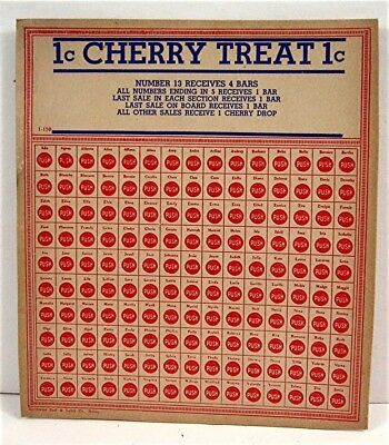 Old 1 Cent Cherry Treat Candy Punch Board Gambling Display Card Old Store Stock