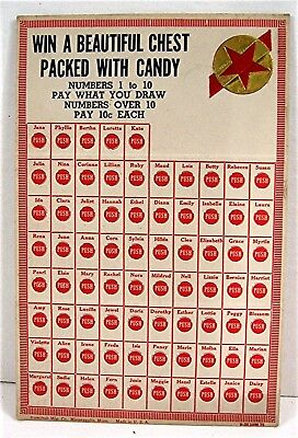 Chest Packed With Candy Punch Board Gambling Display Card Old Store Stock