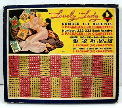 Lovely Lady Cigarette Prize 1 Cent Punch Board Gambling Unused Old Store Stock