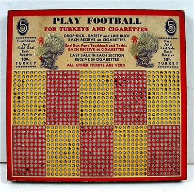 Play Football Turkey & Cigarettes 5 Cent Punch Board Gambling Old Store Stock