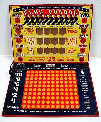 Flag Parade Patriotic Punch Board Folding Prize Board Gambling Unused Old Stock