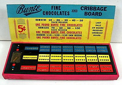 Bunte Chocolate Cribbage 5 Cent Punch Board Gambling Unused Old Store Stock