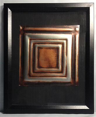 """Tin Ceiling Art Distressed Copper & Silver Vintage Look Panel Framed 8""""X10"""" #640"""