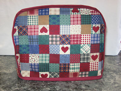 Country cheater with hearts cotton fabric Handmade 2 slice toaster cover (ONLY)