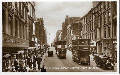Scotland Glasgow Sauchiehall Street Looking West Real Photo Vintage Postcard
