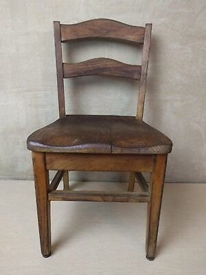 Vintage~Old~Child~Youth~Solid~Oak~School~Church~Chair~Nursery~
