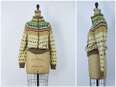 Vintage 1950s/50s Hand Knit Wool Cowl Neck Harlequin Pattern Cardigan Sweater