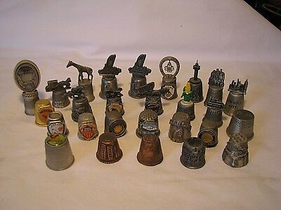 Vintage Lot Of 27 Souvenir Metal Pewter Thimbles From All Over The States