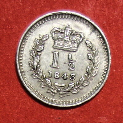 Great Britain : Maundy One And A Half Pence 1843.