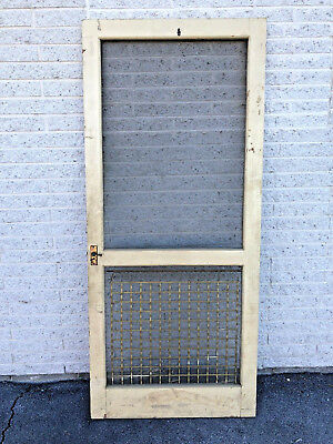 Vintage WOOD SCREEN DOOR country porch storm primitive Cottage Chic Shabby Farm