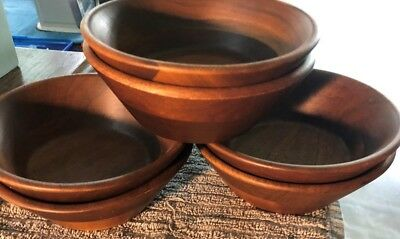 WOODEN  BOWLS HAND MADE REAL  Walnut ...W/LABELS