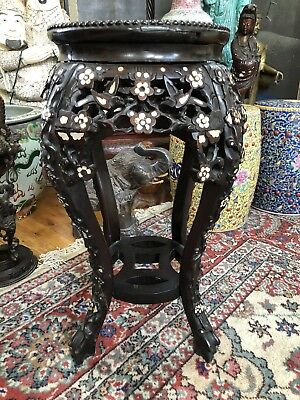 ANTIQUE CHINESE CARVED WOOD TABLE MARBLE TOP DARK WOOD  Cherry Blossom Design
