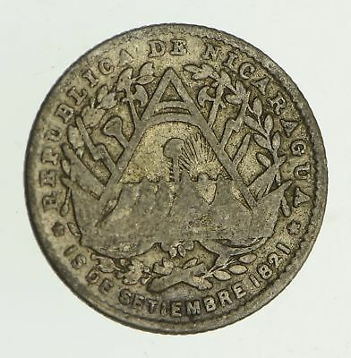 Roughly Size of Dime - 1887 Nicaragua 5 Cents - World Silver Coin *362