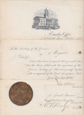 TENNESSEE, Nashville, 1889 autographs of Governor etc., Great Seal of Oregon.