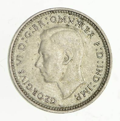 Roughly Size of Dime - 1942 Australia 3 Pence - World Silver Coin *600