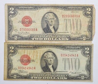 Lot (2) Red Seal $2.00 US 1928-E & G Notes - Currency Collection *263