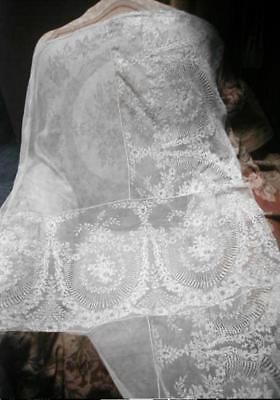 Very Fine Antique French Lace Panel from Edwardian Wedding Gown Cream Large VG
