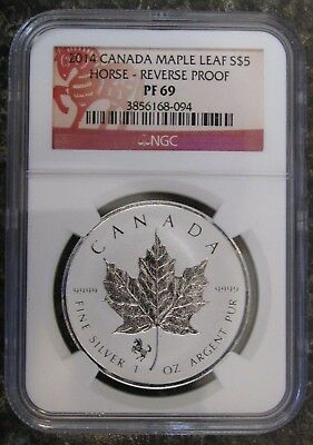 2014 Canada $5 1oz 9999 silver Maple Leaf Horse Privy Mark NGC P69