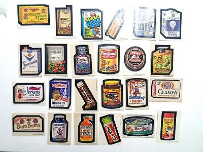 Wacky Packages 6th Series 6 Lot of 24 Different Stickers Tan Back 1974