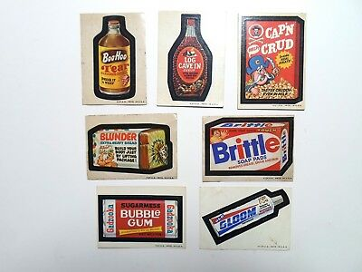 Wacky Packages 2nd Series 2 Lot of 7 Different Stickers Tan Back 1973