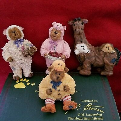 Boyds Bearstone Oinkers, Quackers, Whinny and Baab.  New  Retired