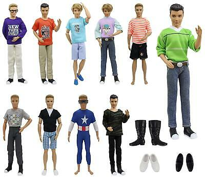 Lot 10pcs for Boy Friend Ken Doll Clothes 3pairs Shoes Summer ACCS Outfits Top