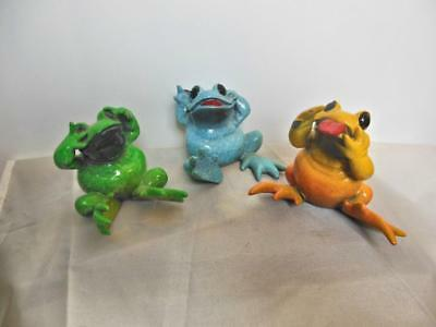 """Set of 3 Frog Sculptures See Hear Speak No Evil 2.5"""" Kitty's Critters LE"""