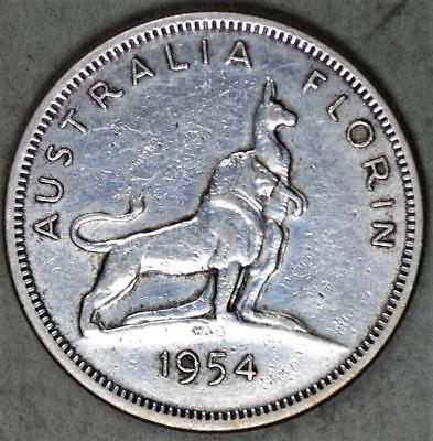 Australia 1954 Florin Silver Coin - Royal Visit Commemorative