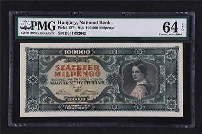 1946 Hungary National Bank 1000000 Million Milpengo Pick# 127 PMG 64 EPQ UNC
