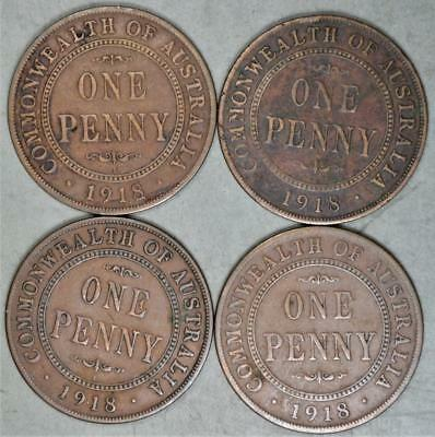 Australia 1918-I Penny Lot of 4 Coins