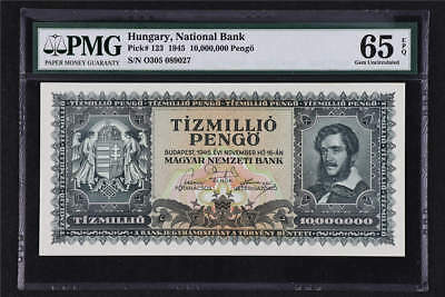 1945 Hungary National Bank 10000000 Pengo Pick# 123 PMG 65 EPQ Gem UNC