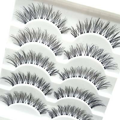 5 Pairs Natural Long Cross False Eyelashes Makeup Fake Thick Black Eye Lashes