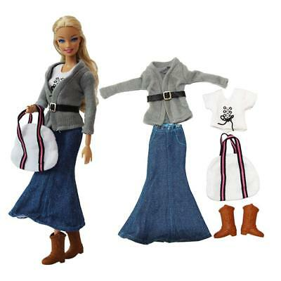 Barbie Doll Casual Outfit Skirt Sweater Coat Top Ankle Boots Shoes Belt Handbags