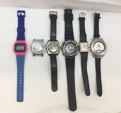 6 x Wrist watches Adimax Cardinal Ruhla Cardi Bariho Digital for parts old watch