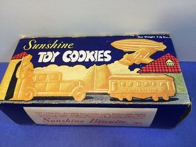 Sunshine Toy Cookie 1930s vintage food box zeppelin car airplane Biscuit Shapes