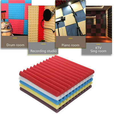 50PCS Acoustic Foam Panel Sound Stop Absorption Sponge Studio KTV Soundproof AU