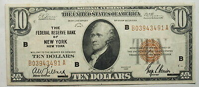 1929  $10 Ten Dollar FRBN Federal Reserve Bank Note, New York, XF (491)(b)